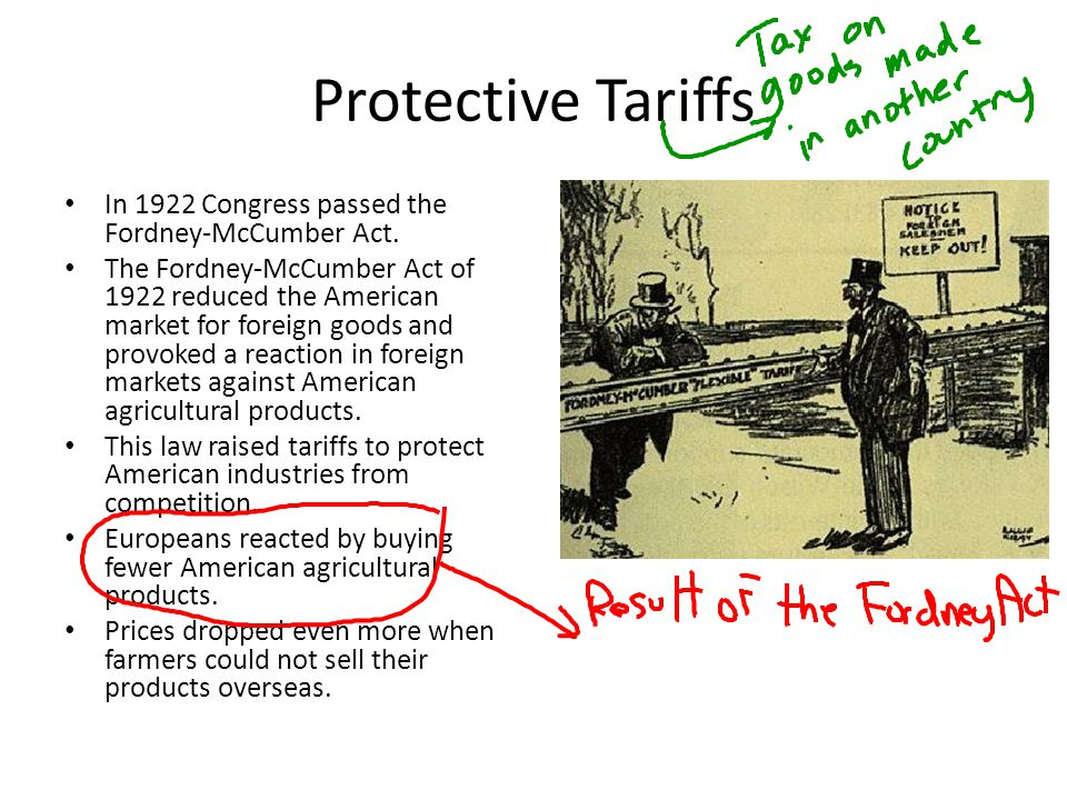 Protective Tariffs In 1922 Congress passed the Fordney-McCumber Act. The Fordney-McCumber Act of 1922 reduced the American market for foreign goods an