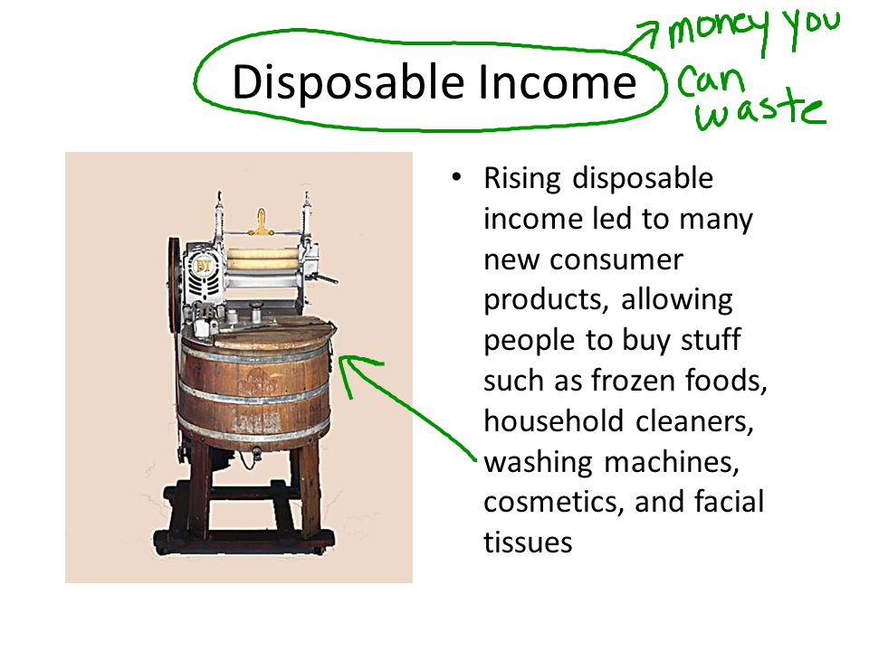 Disposable Income Rising disposable income led to many new consumer products, allowing people to buy stuff such as frozen foods, household cleaners, w
