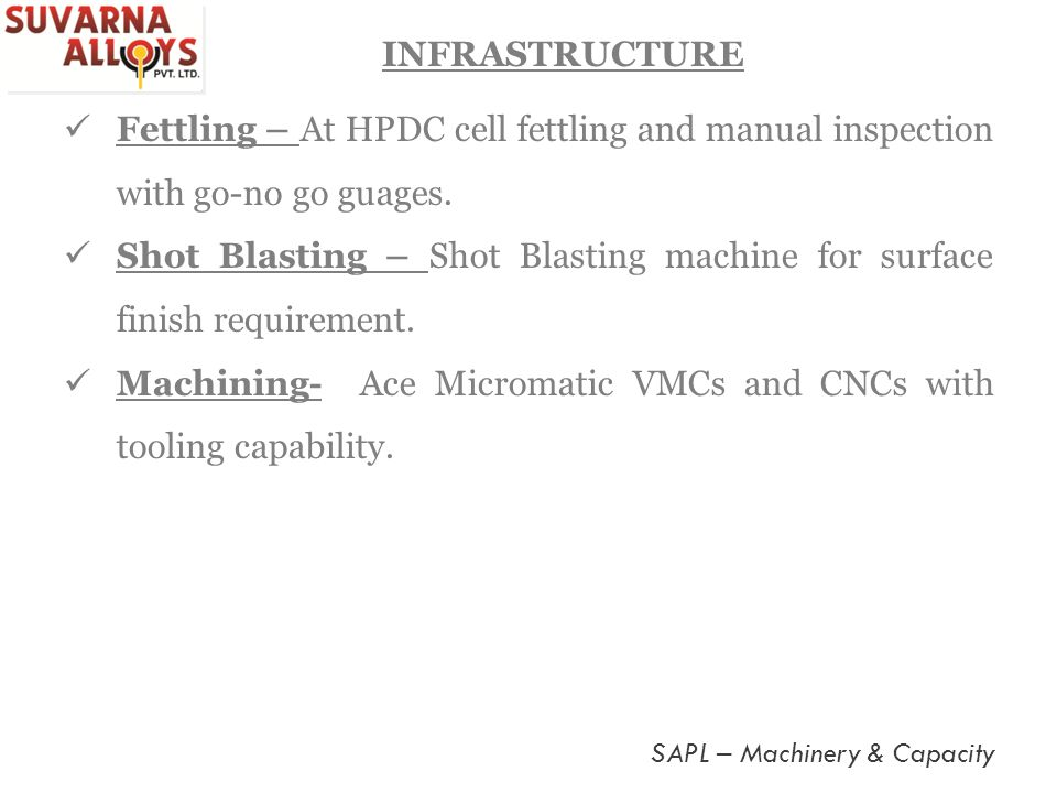 Fettling – At HPDC cell fettling and manual inspection with go-no go guages. Shot Blasting – Shot Blasting machine for surface finish requirement. Mac