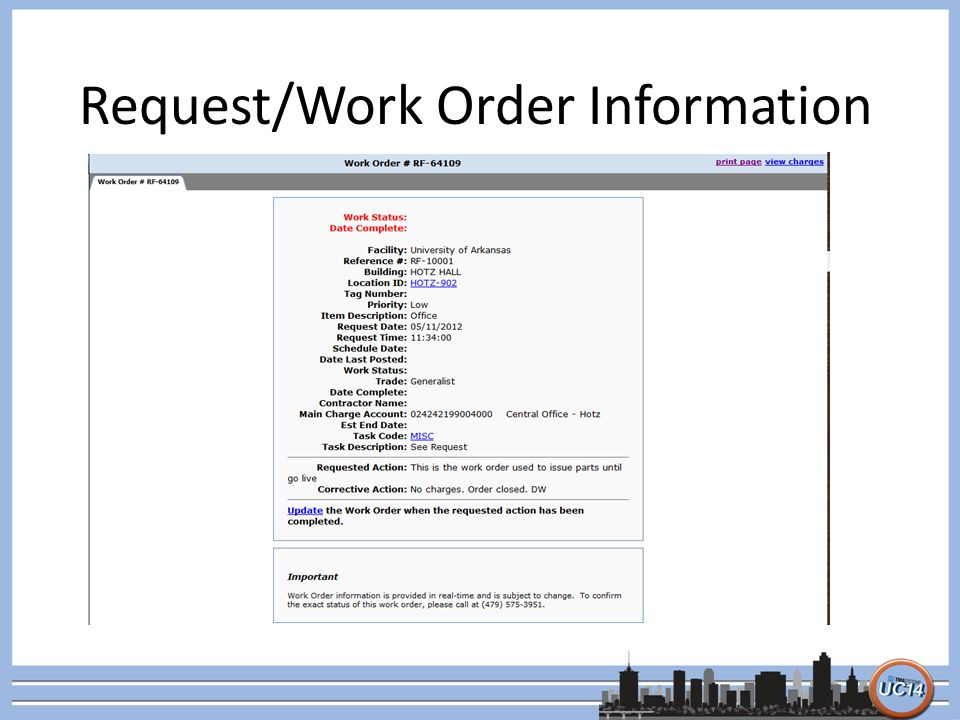 Request/Work Order Information