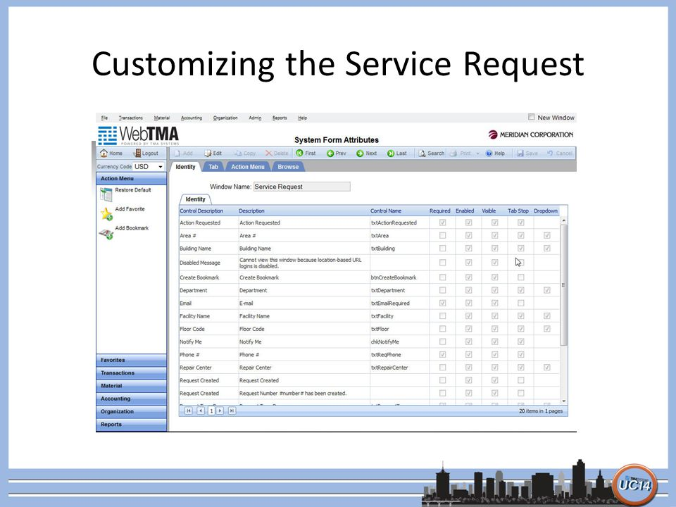 Customizing the Service Request