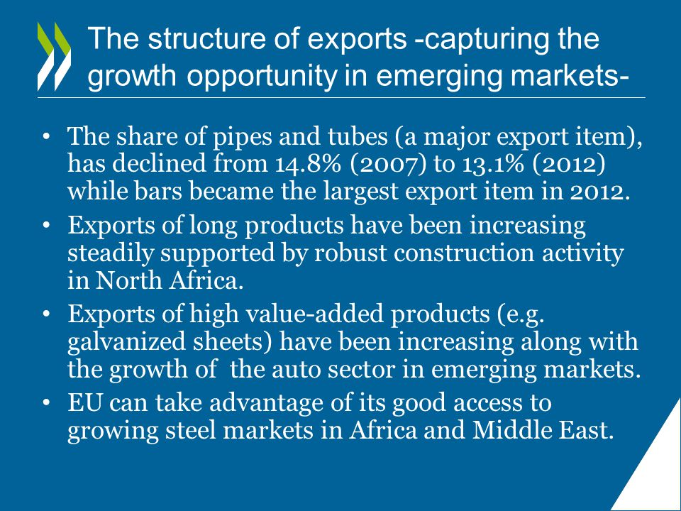 The structure of exports -capturing the growth opportunity in emerging markets- The share of pipes and tubes (a major export item), has declined from 14.8% (2007) to 13.1% (2012) while bars became the largest export item in 2012.