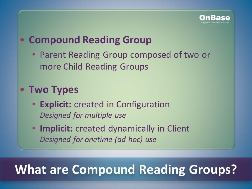 What are Compound Reading Groups.