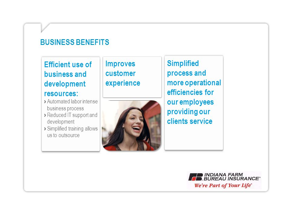 BUSINESS BENEFITS Efficient use of business and development resources: Automated labor intense business process Reduced IT support and development Simplified training allows us to outsource Improves customer experience Simplified process and more operational efficiencies for our employees providing our clients service