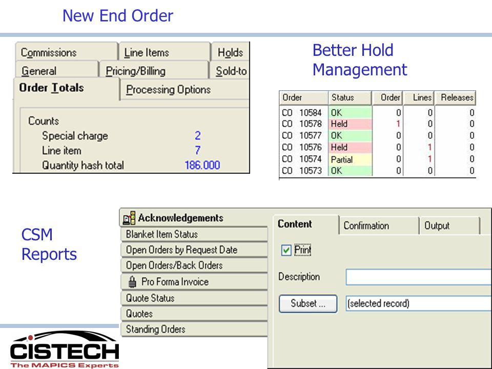 New End Order CSM Reports Better Hold Management