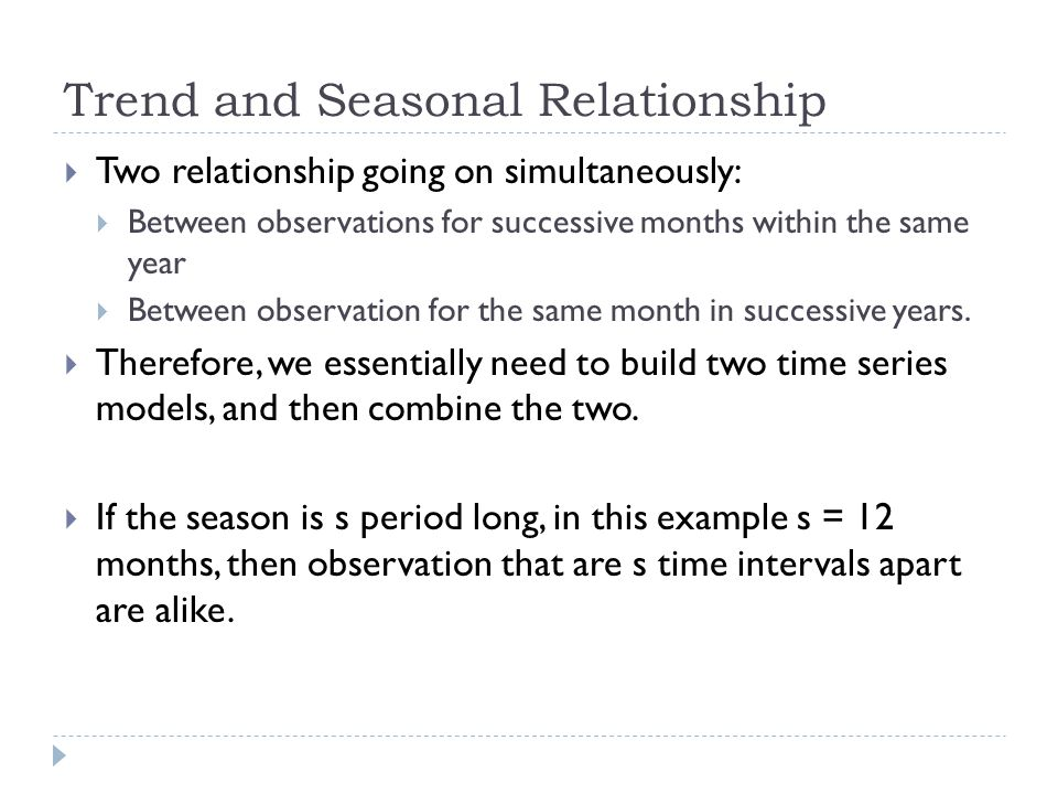 Trend and Seasonal Relationship Two relationship going on simultaneously: Between observations for successive months within the same year Between obse
