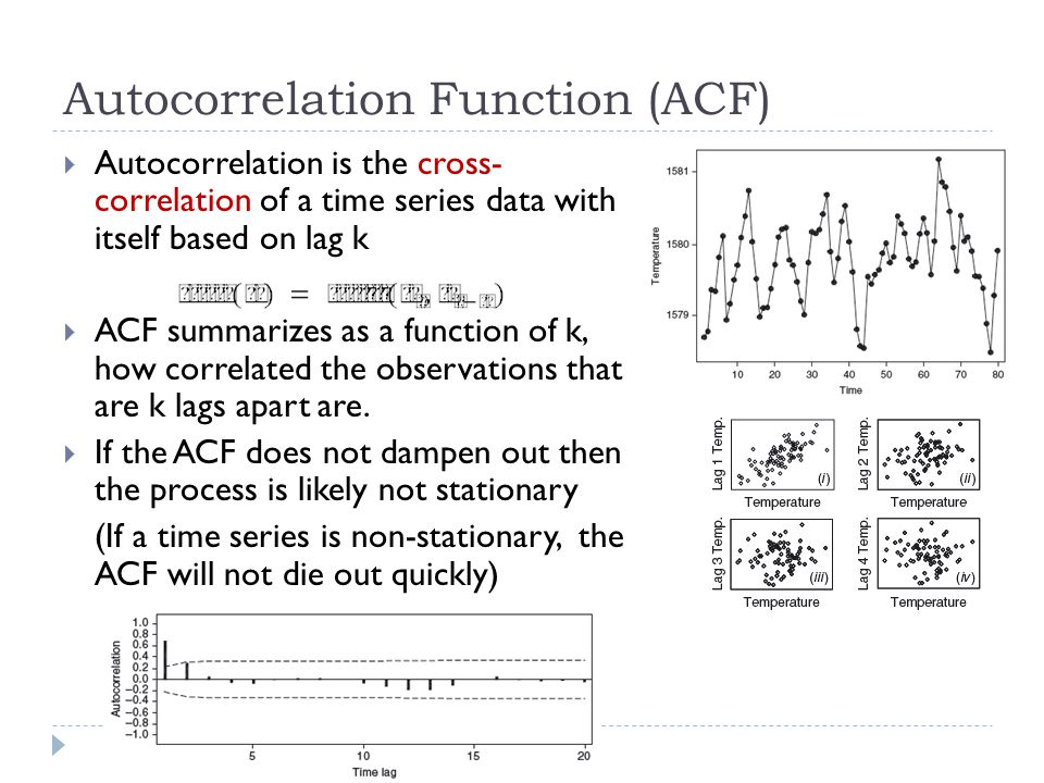Autocorrelation Function (ACF) Autocorrelation is the cross- correlation of a time series data with itself based on lag k ACF summarizes as a function