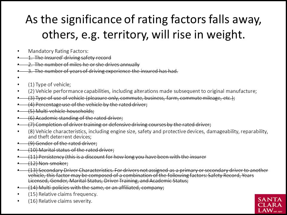As the significance of rating factors falls away, others, e.g.