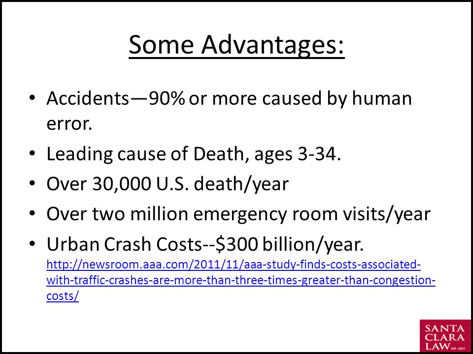 Some Advantages: Accidents90% or more caused by human error.