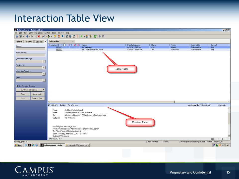 Proprietary and Confidential 15 Interaction Table View