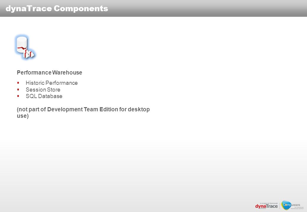 dynaTrace Components Performance Warehouse Historic Performance Session Store SQL Database (not part of Development Team Edition for desktop use)