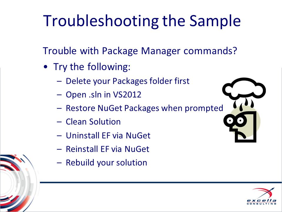 Troubleshooting the Sample Trouble with Package Manager commands? Try the following: –Delete your Packages folder first –Open.sln in VS2012 –Restore N