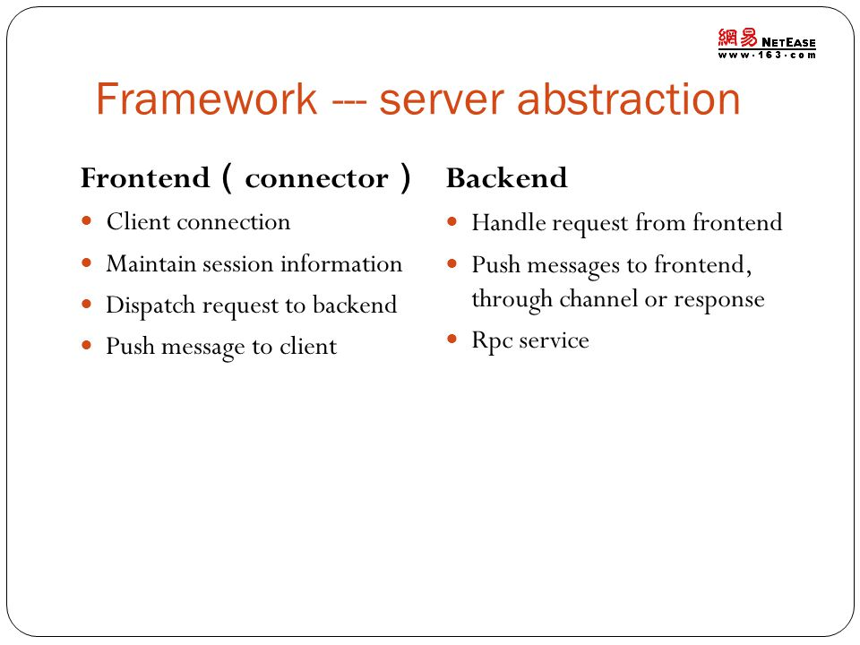 Framework --- server abstraction Frontend connector Client connection Maintain session information Dispatch request to backend Push message to client