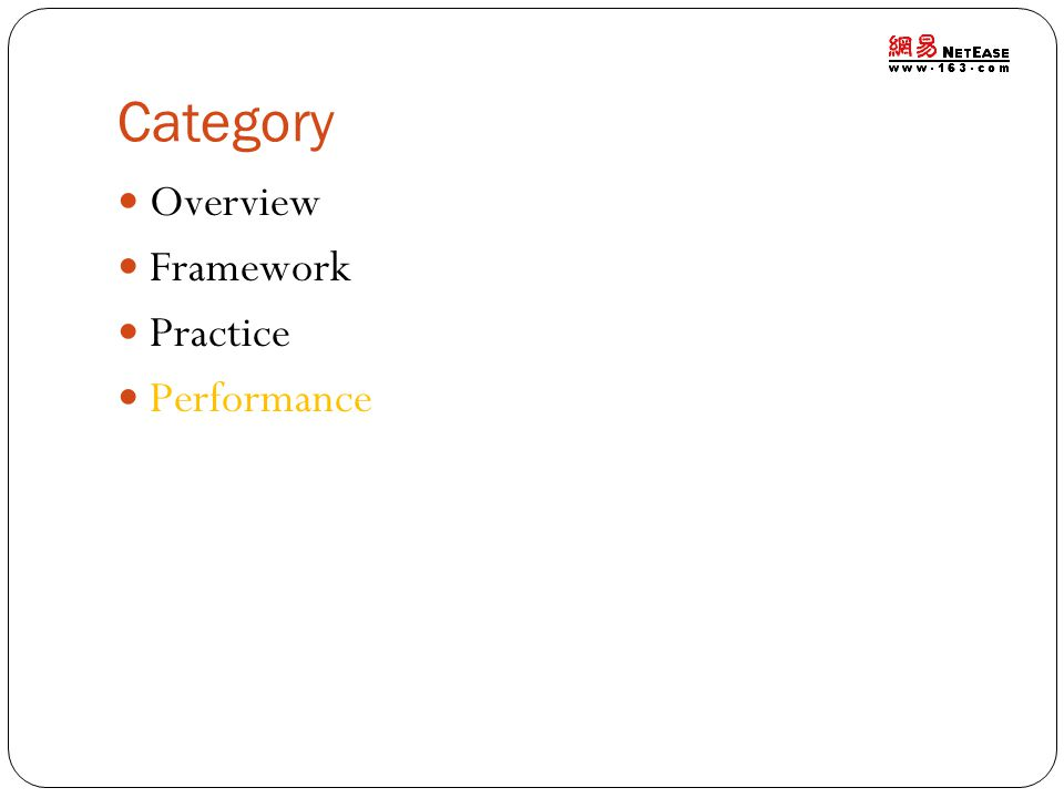 Category Overview Framework Practice Performance