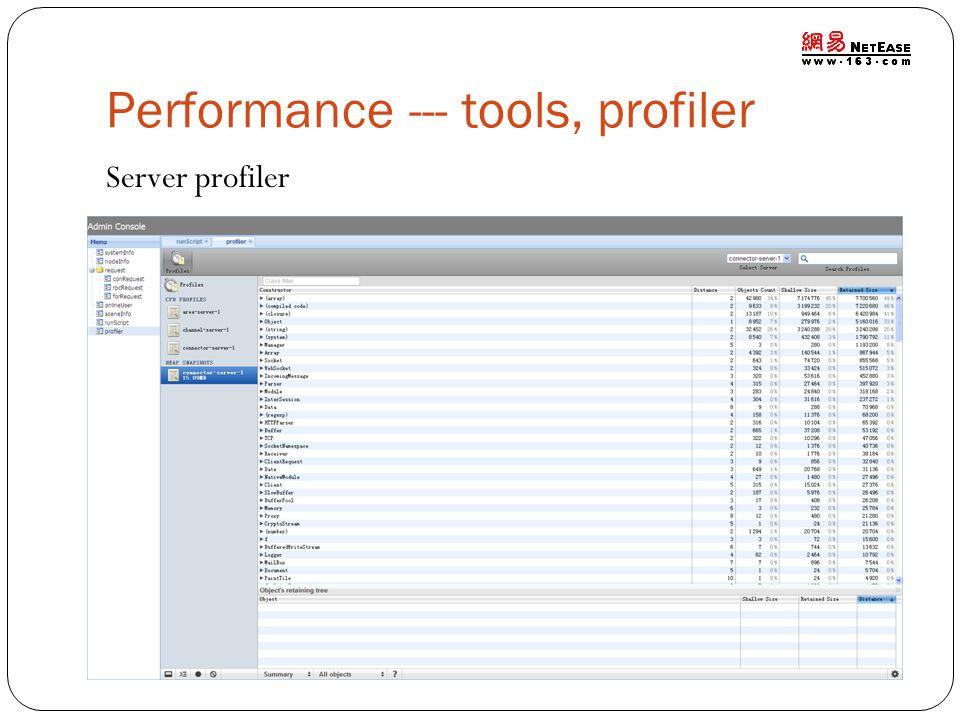 Performance --- tools, profiler Server profiler