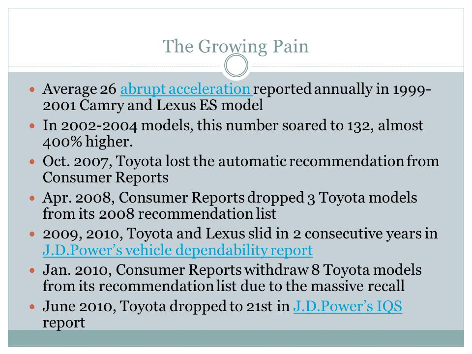 The Growing Pain Average 26 abrupt acceleration reported annually in 1999- 2001 Camry and Lexus ES modelabrupt acceleration In 2002-2004 models, this number soared to 132, almost 400% higher.