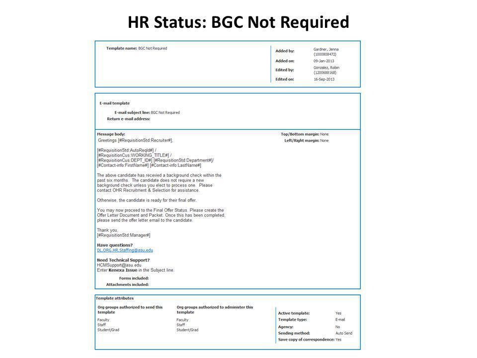 HR Status: BGC Not Required