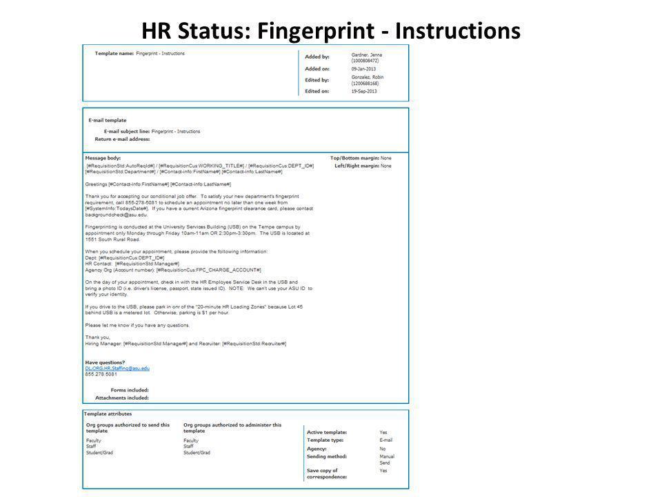 HR Status: Fingerprint - Instructions