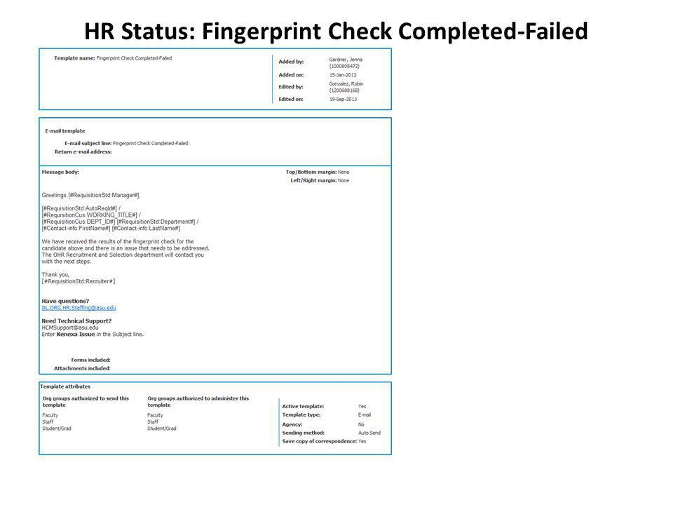 HR Status: Fingerprint Check Completed-Failed