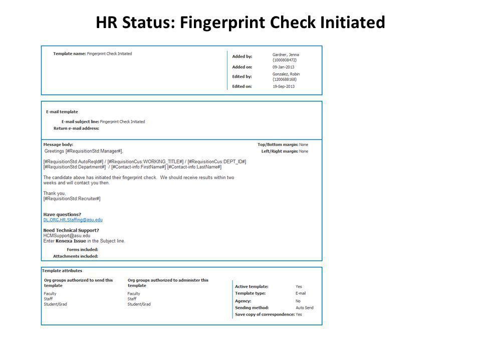 HR Status: Fingerprint Check Initiated