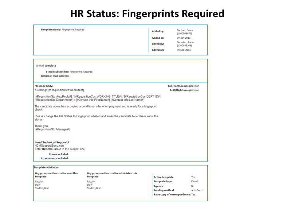 HR Status: Fingerprints Required