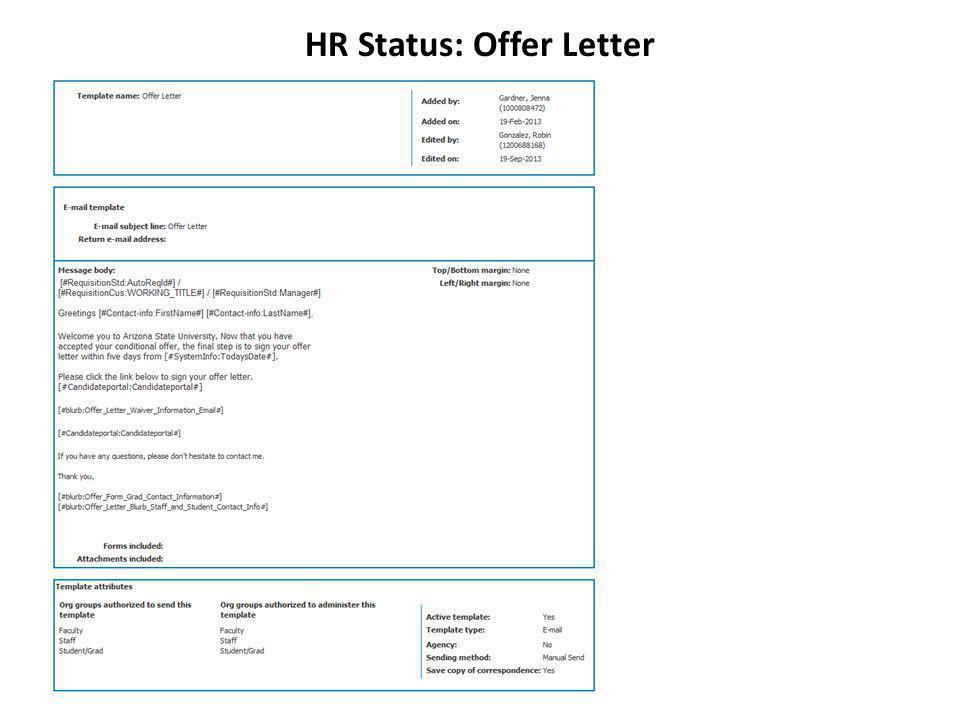 HR Status: Offer Letter