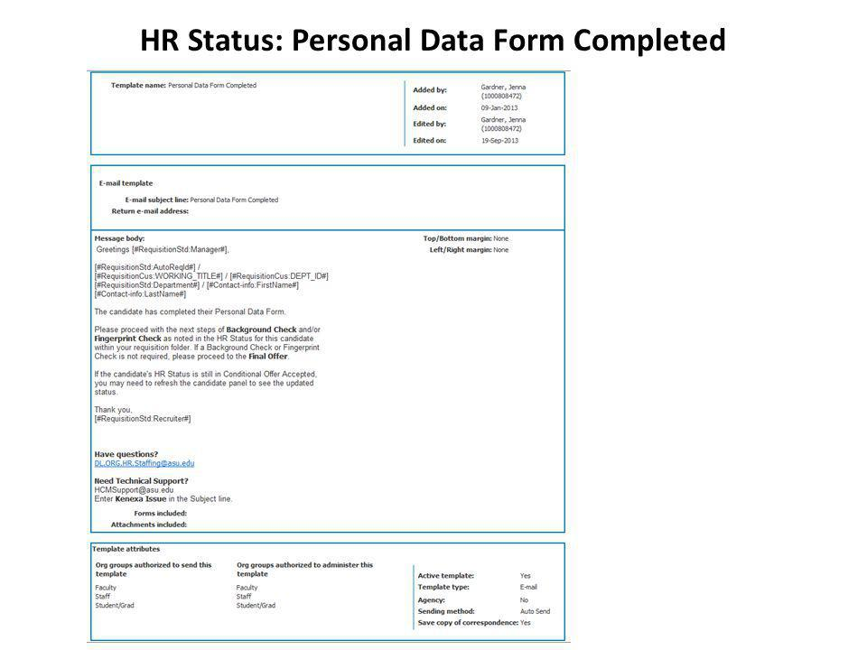 HR Status: Personal Data Form Completed