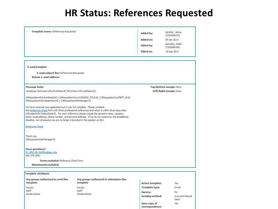 HR Status: References Requested