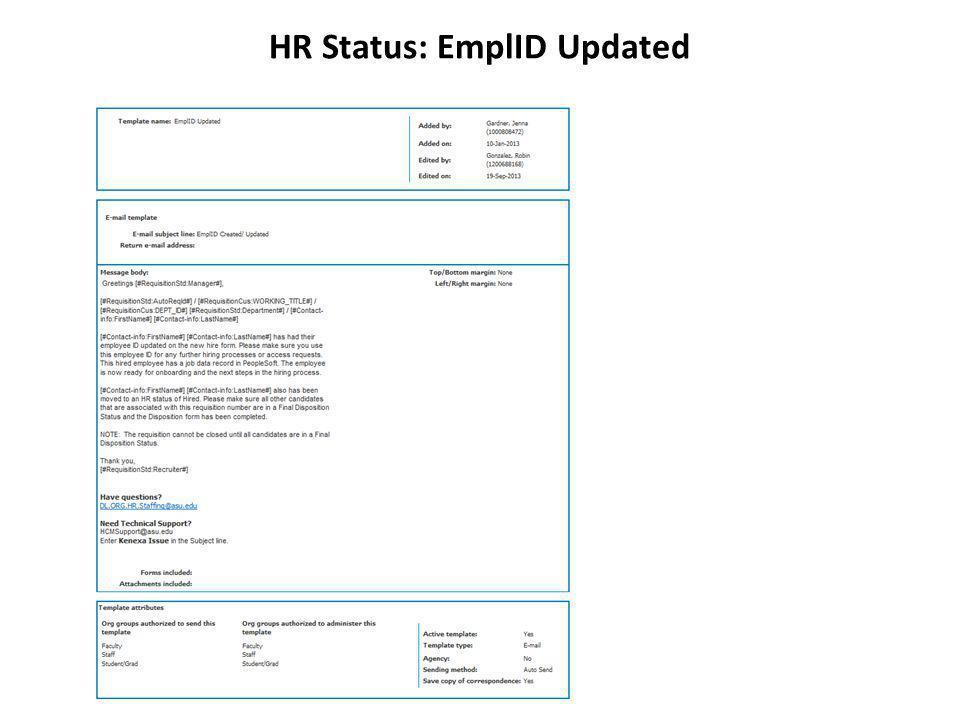 HR Status: EmplID Updated