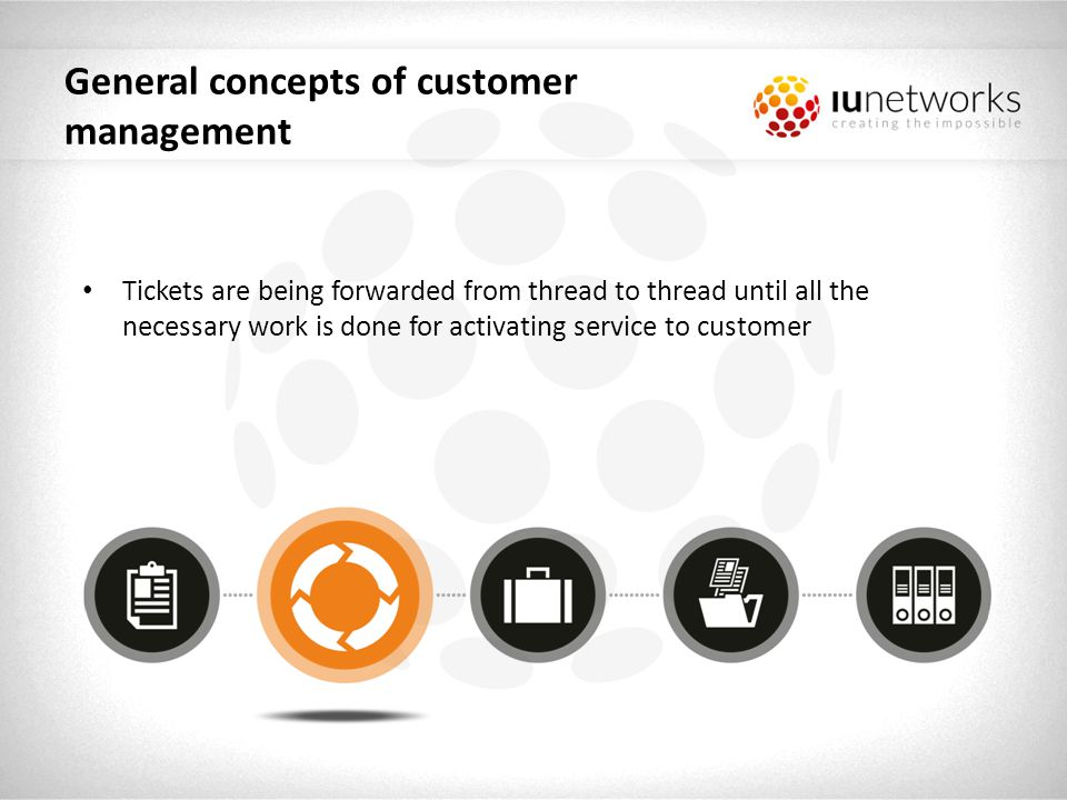 General concepts of customer management Finally ticket gets forwarded to step indicating that service is already active which in turn activates Service & tariff management component and service instance with requested tariff is being created and assigned to customer.
