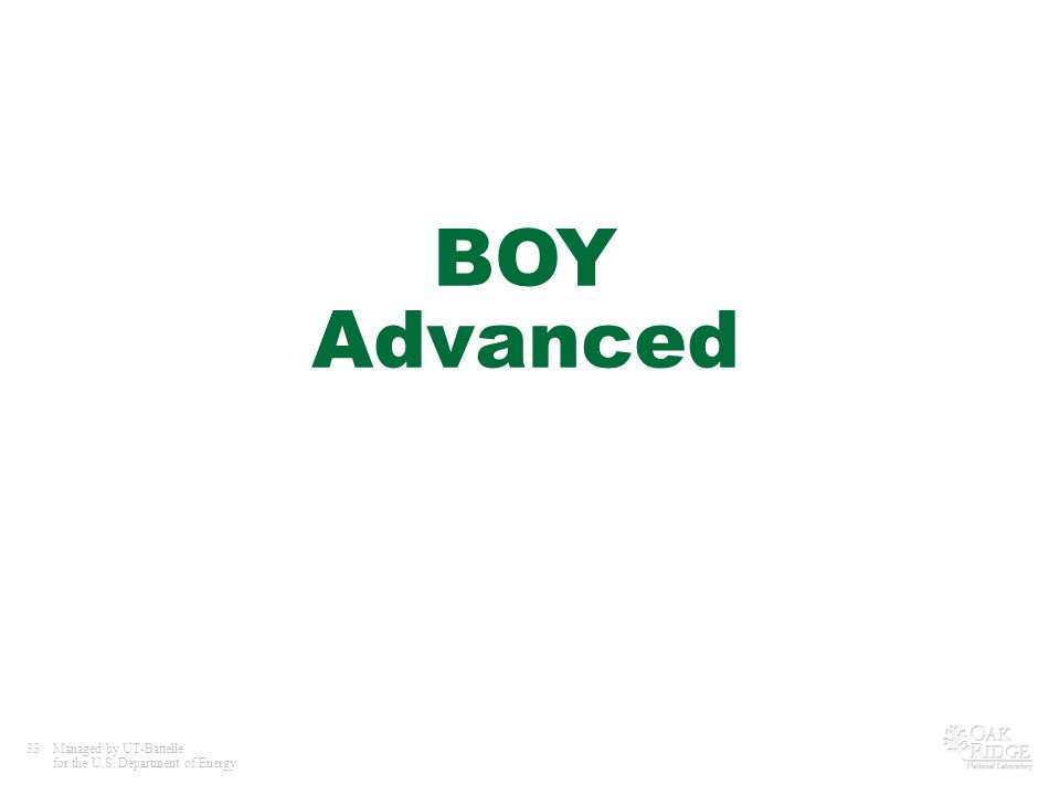 33Managed by UT-Battelle for the U.S. Department of Energy BOY Advanced