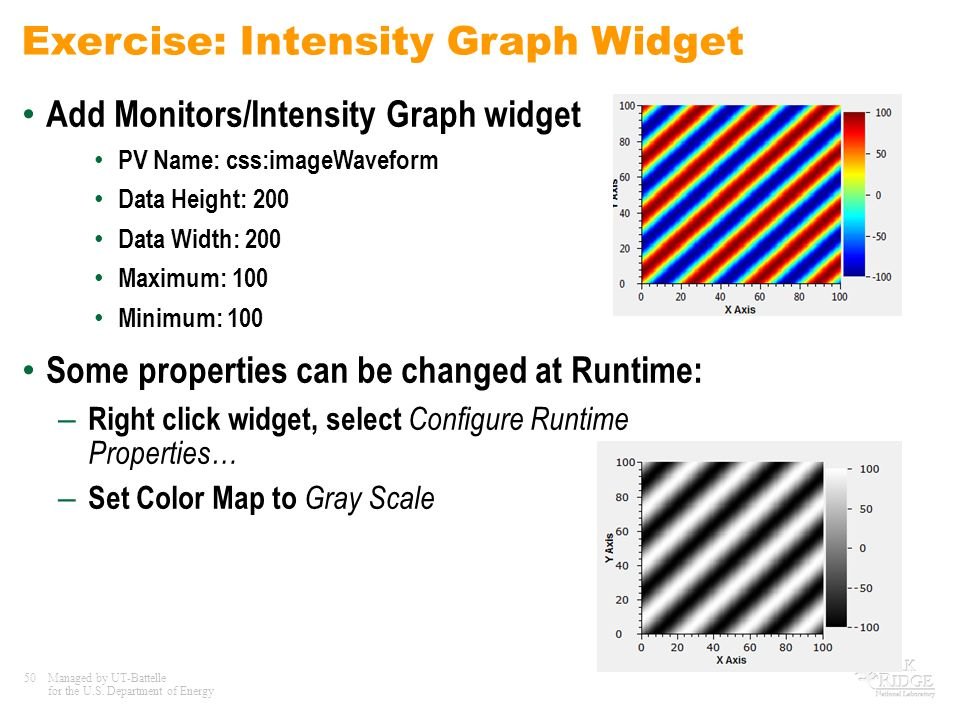 50Managed by UT-Battelle for the U.S. Department of Energy Exercise: Intensity Graph Widget Add Monitors/Intensity Graph widget PV Name: css:imageWave