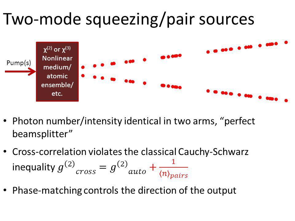 Two-mode squeezing/pair sources χ (2) or χ (3) Nonlinear medium/ atomic ensemble/ etc. Pump(s)