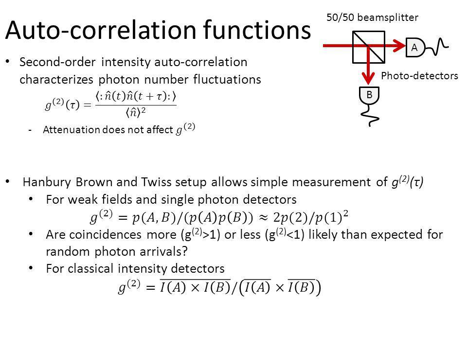 A B 50/50 beamsplitter Photo-detectors Auto-correlation functions A B