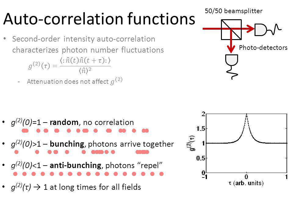 A B 50/50 beamsplitter Photo-detectors Auto-correlation functions g (2) (0)=1 – random, no correlation g (2) (0)>1 – bunching, photons arrive together