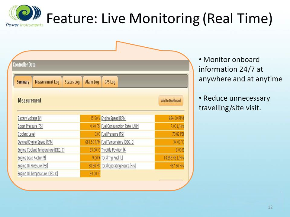 Feature: Live Monitoring (Real Time) 12 Monitor onboard information 24/7 at anywhere and at anytime Reduce unnecessary travelling/site visit.