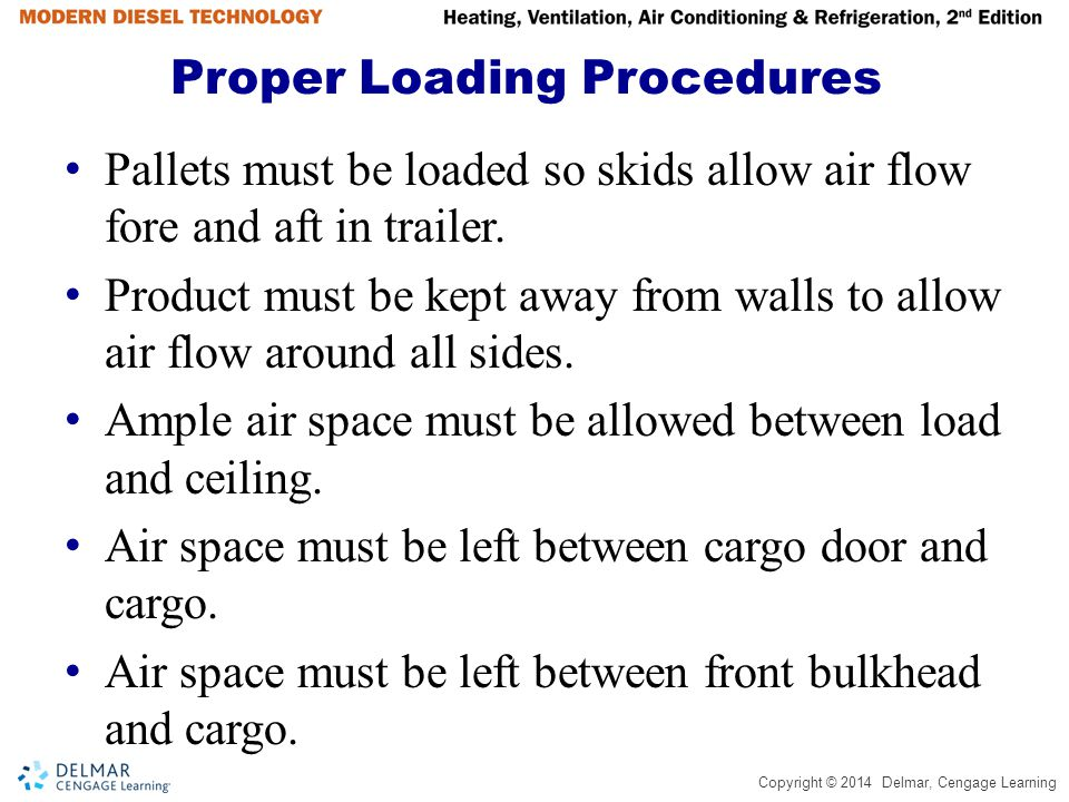 Copyright © 2014 Delmar, Cengage Learning Proper Loading Procedures Pallets must be loaded so skids allow air flow fore and aft in trailer. Product mu