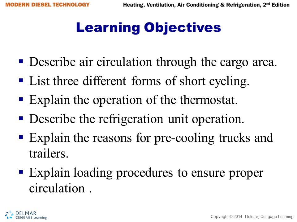 Copyright © 2014 Delmar, Cengage Learning Learning Objectives Describe air circulation through the cargo area. List three different forms of short cyc
