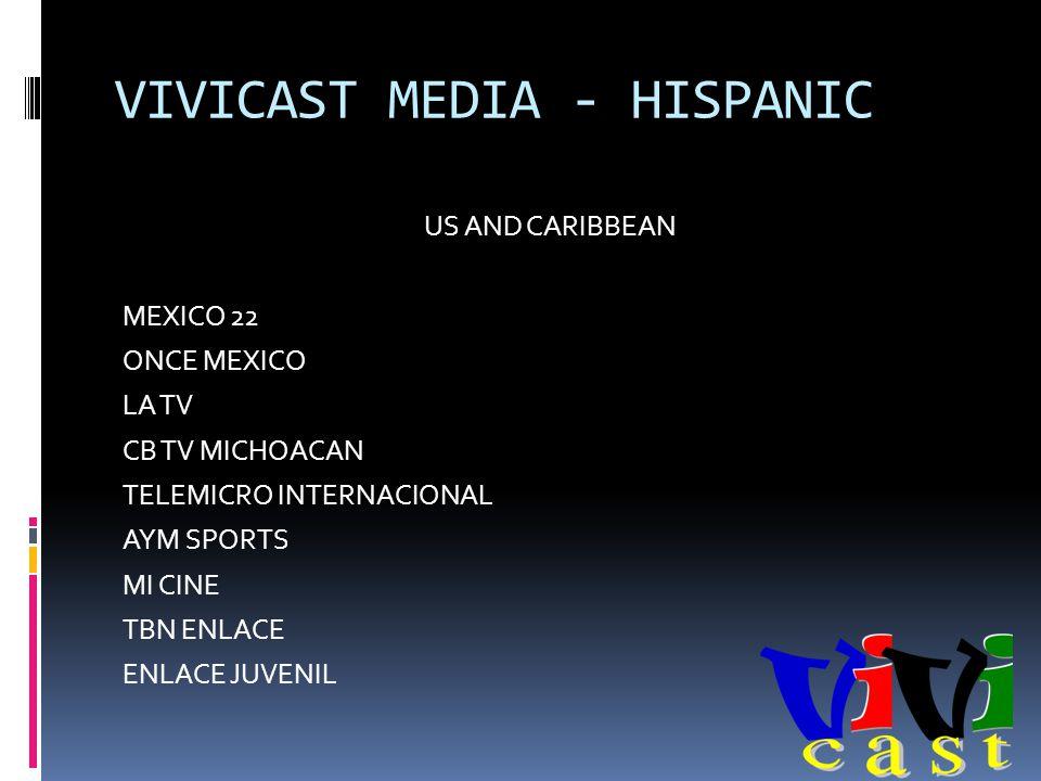 VIVICAST MEDIA - HISPANIC US AND CARIBBEAN MEXICO 22 ONCE MEXICO LA TV CB TV MICHOACAN TELEMICRO INTERNACIONAL AYM SPORTS MI CINE TBN ENLACE ENLACE JUVENIL