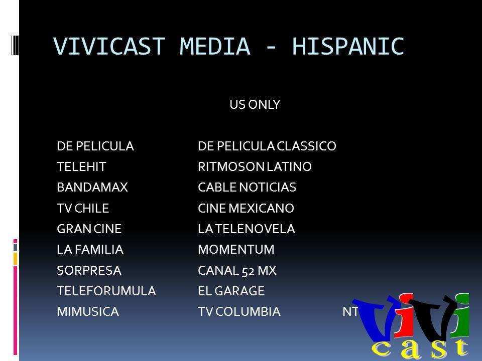 VIVICAST MEDIA - HISPANIC US ONLY DE PELICULADE PELICULA CLASSICO TELEHITRITMOSON LATINO BANDAMAXCABLE NOTICIAS TV CHILECINE MEXICANO GRAN CINELA TELENOVELA LA FAMILIAMOMENTUM SORPRESACANAL 52 MX TELEFORUMULAEL GARAGE MIMUSICATV COLUMBIANTN