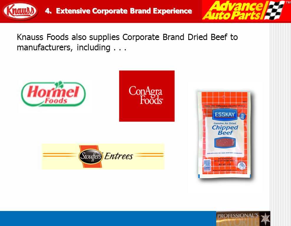 Knauss Foods also supplies Corporate Brand Dried Beef to manufacturers, including... 4. Extensive Corporate Brand Experience