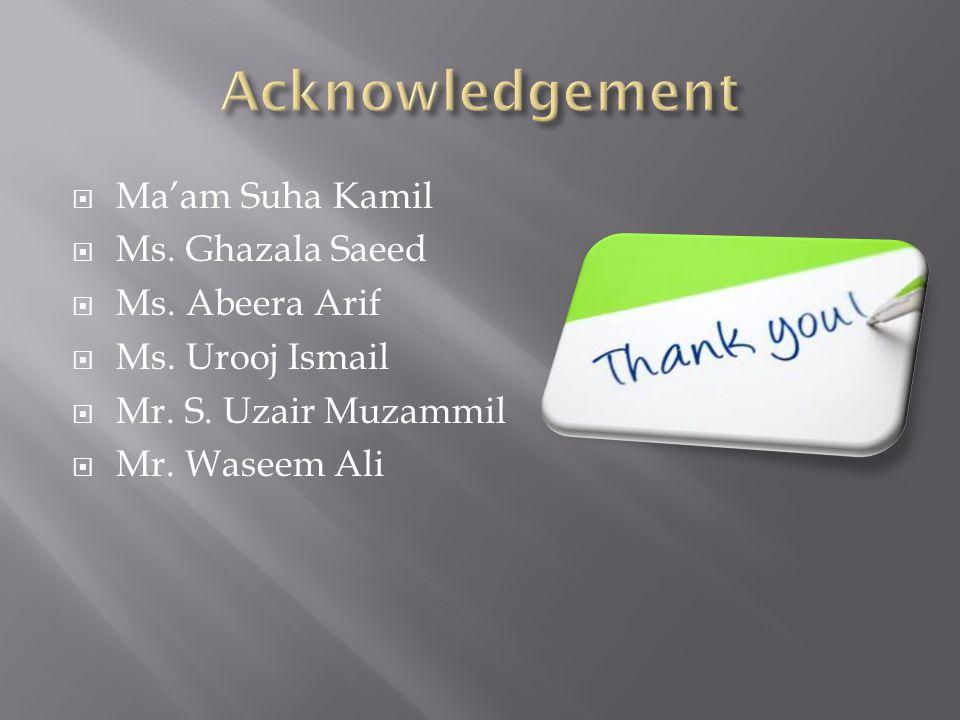 Maam Suha Kamil Ms. Ghazala Saeed Ms. Abeera Arif Ms. Urooj Ismail Mr. S. Uzair Muzammil Mr. Waseem Ali