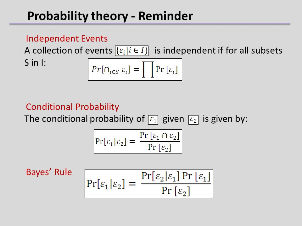 Probability theory - Reminder Independent Events A collection of events is independent if for all subsets S in I: Conditional Probability The conditio