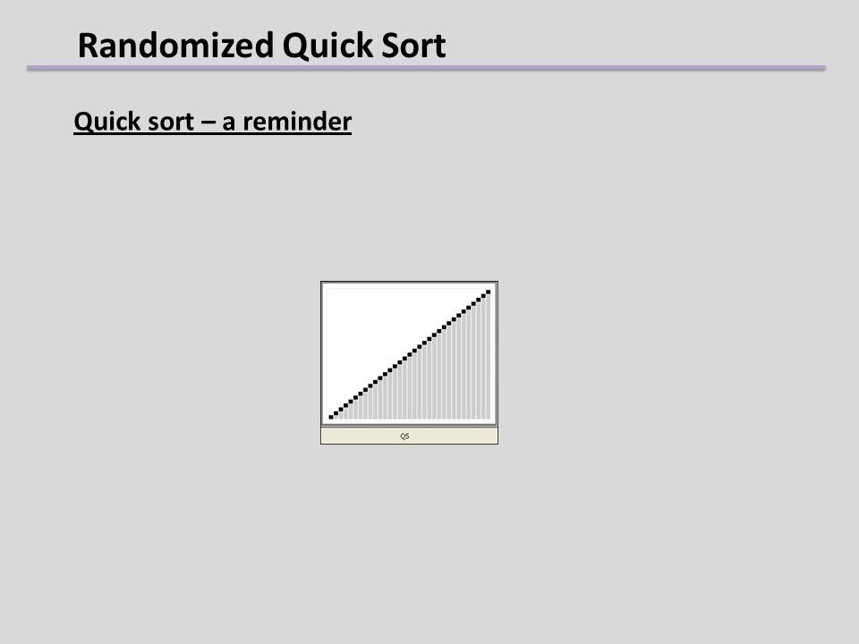 Randomized Quick Sort Quick sort – a reminder