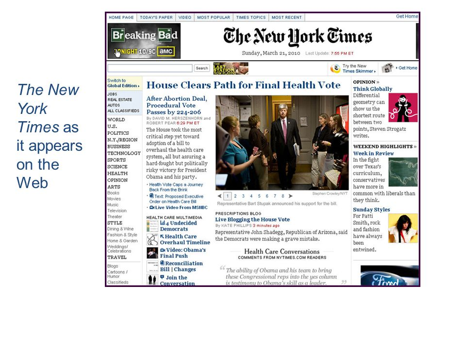 The New York Times as it appears on the Web