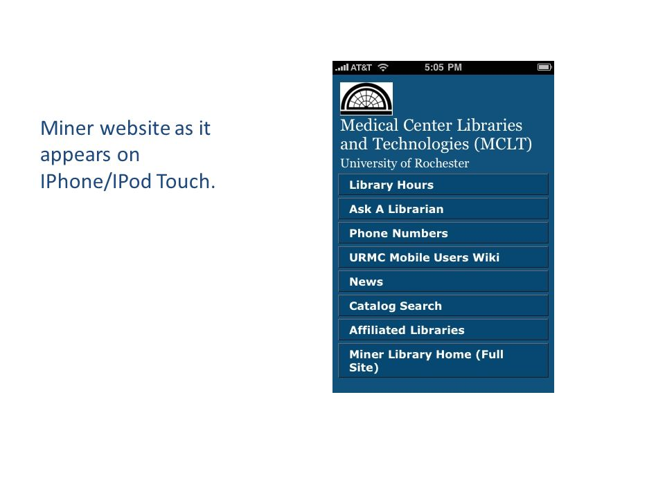 Miner website as it appears on IPhone/IPod Touch.