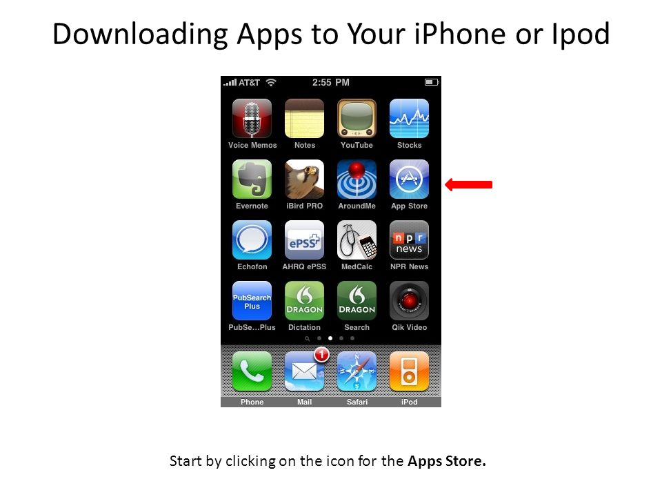 Start by clicking on the icon for the Apps Store. Downloading Apps to Your iPhone or Ipod