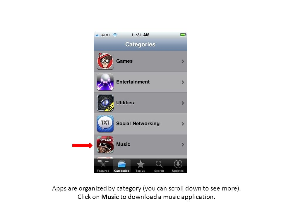 Apps are organized by category (you can scroll down to see more). Click on Music to download a music application.