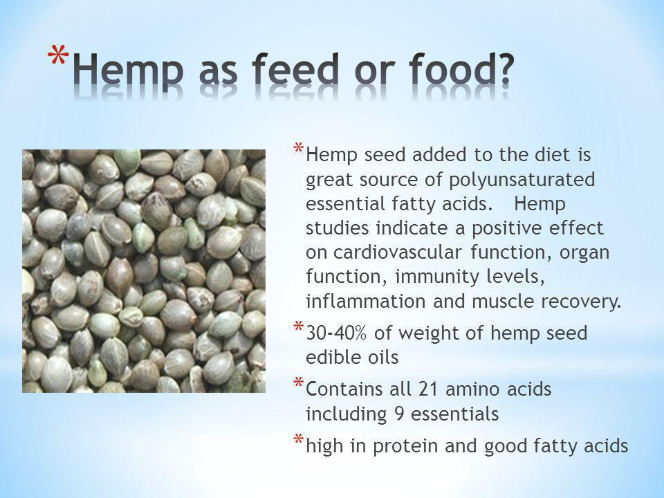 * Hemp seed added to the diet is great source of polyunsaturated essential fatty acids.