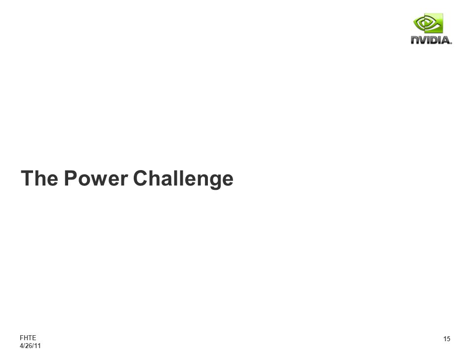 FHTE 4/26/11 15 The Power Challenge